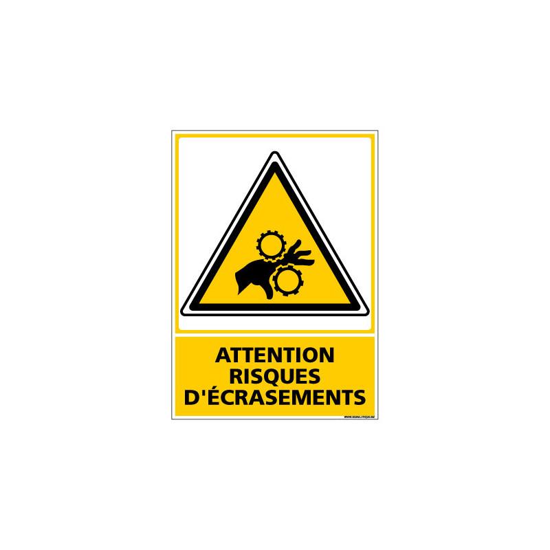 Panneau de Signalisation ATTENTION RISQUES D'ECRASEMENTS (C1181)