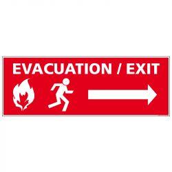 PANNEAU ÉVACUATION INCENDIE - FLÈCHE DROITE (A0671)