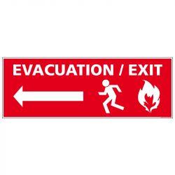 PANNEAU ÉVACUATION INCENDIE - FLÈCHE GAUCHE (A0672)