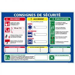 CONSIGNES SÉCURITÉ INCENDIE / ACCIDENT (A673)