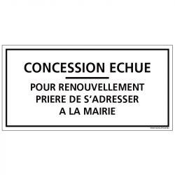 PLAQUE CONCESSION ECHUE CIMETIÈRE (G1609)