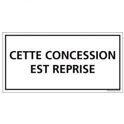 PLAQUE CONCESSION REPRISE CIMETIÈRE (G1615)