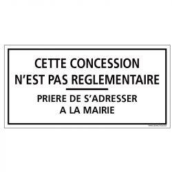 PLAQUE CONCESSION NON RÈGLEMENTAIRE CIMETIÈRE (G1620)