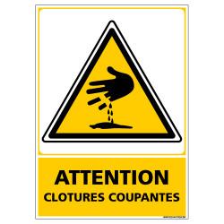 Panneau ATTENTION CLOTURES COUPANTES (C1348)