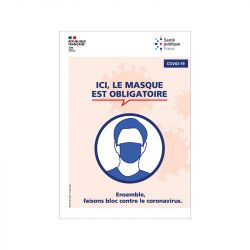 PANNEAU ICI, LE MASQUE EST OBLIGATOIRE COVID19 - (G1625)