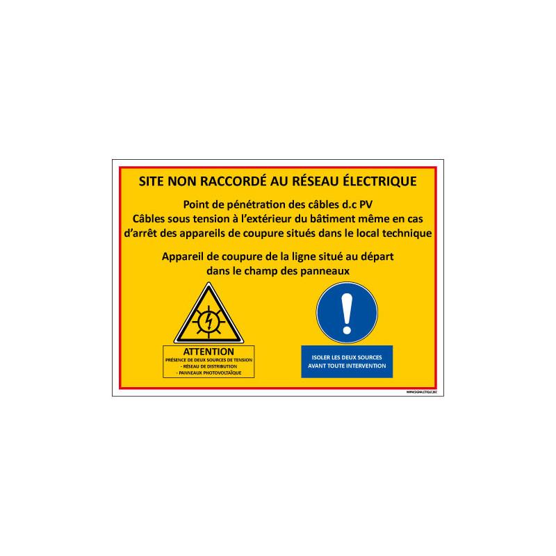 SIGNALISATION SITE PHOTOVOLTAIQUE NON RACCORDE AU RESEAU ELECTRIQUE (C1375)