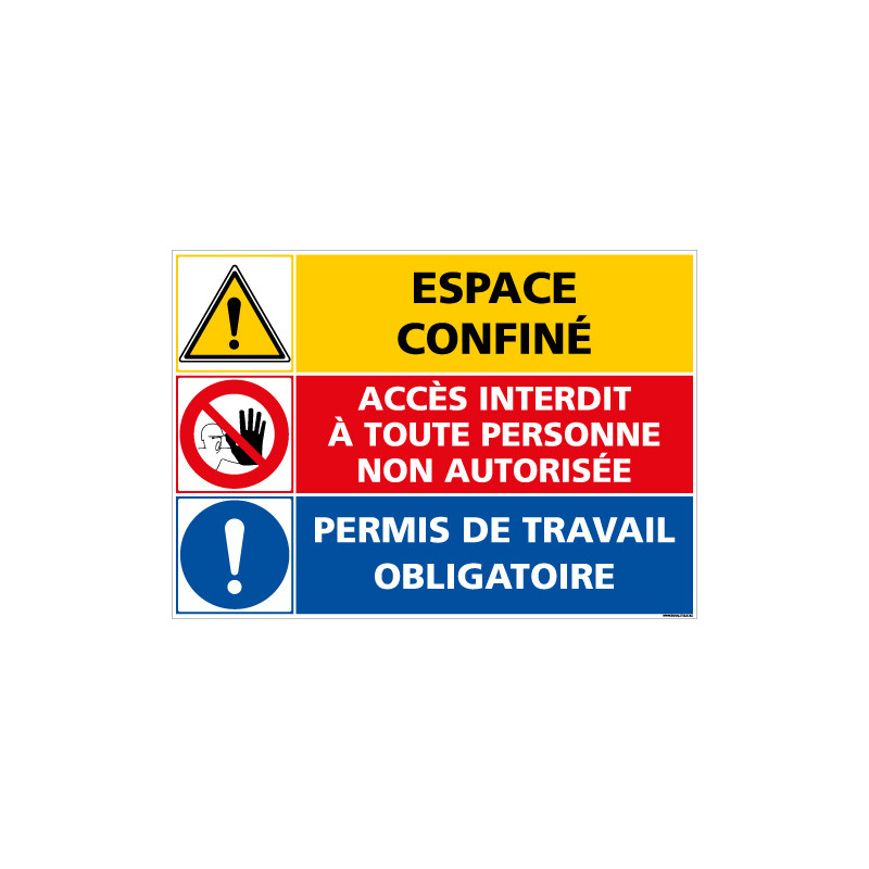 PANNEAU DANGER ESPACE CONFINE - ACCES INTERDIT - PERMIS DE TRAVAIL OBLIGATOIRE (C1400)