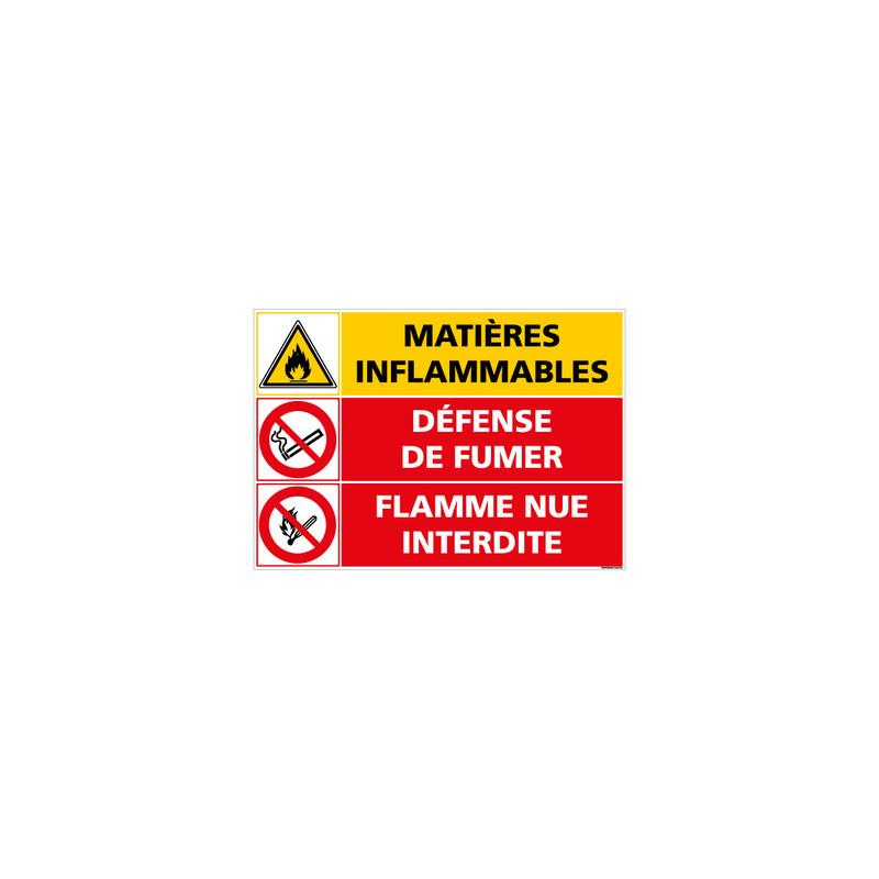 PANNEAU DANGER MATIERES INFLAMMABLES DEFENSE DE FUMER (C1402)