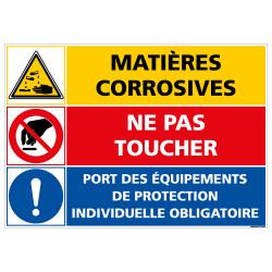 PANNEAU DANGER MATIERES CORROSIVES - NE PAS TOUCHER (C1403)