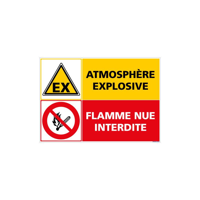 PANNEAU SIGNALISATION ATMOSPHERE EXPLOSIVE - FLAMME NUE INTERDITE (C1404)
