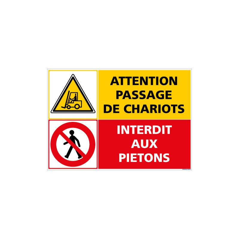 PANNEAU DANGER PASSAGE DE CHARIOTS - INTERDIT AUX PIETONS (C1406)