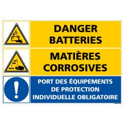 PANNEAU DANGER BATTERIES - MATIERES CORROSIVES (C1408)