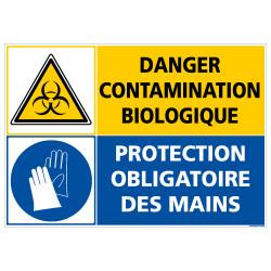 PANNEAU DANGER CONTAMINATION BIOLOGIQUE - PROTECTION OBLIGATOIRE DES MAINS (C1409)