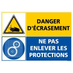PANNEAU DANGER D'ECRASEMENT - NE PAS ENLEVER LES PROTECTIONS (C1410)