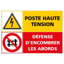 PANNEAU POSTE HAUTE TENSION DEFENSE D'ENCOMBRER (C1415)