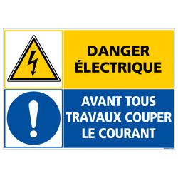 PANNEAU DANGER ELECTRIQUE - COUPER LE COURANT (C1417)