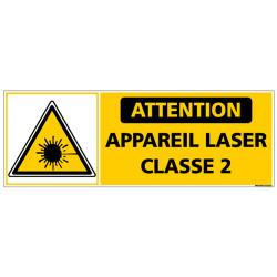 PANNEAU ATTENTION APPAREIL LASER DE CLASSE 2 (C1433)