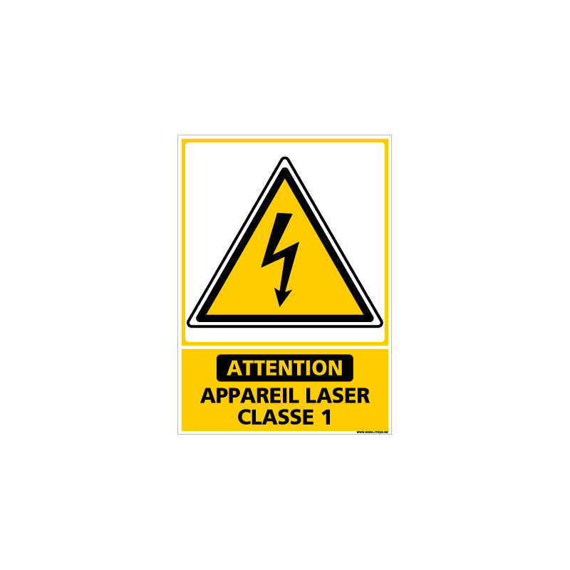 PANNEAU DANGER APPAREIL LASER DE CLASSE 1 (C1436)