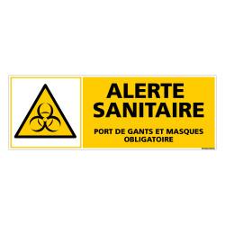PANNEAU ALERTE SANITAIRE - PORT DE GANTS ET MASQUES OBLIGATOIRE (C1510)
