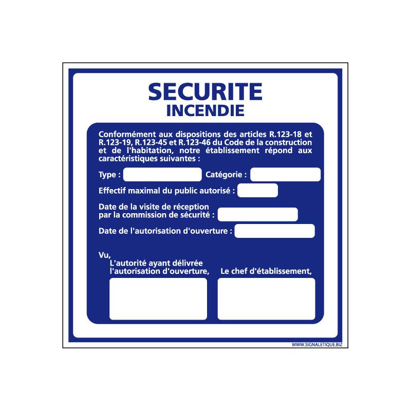 Panneau SECURITE INCENDIE (A0302)