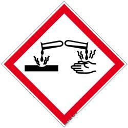 PANNEAU DANGER MATIERES CORROSIVES (SGH05)