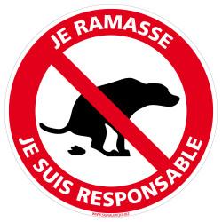 PANNEAU DÉJECTION CANINE : JE RAMASSE , JE SUIS RESPONSABLE (D1367)