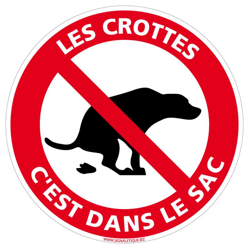 PANNEAU DEJECTION CANINE, LES CROTTES C'EST DANS LE SAC (D1062)