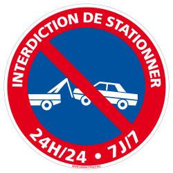 PANNEAU INTERDICTION DE STATIONNER 24H/24H 7/7 (L0022)
