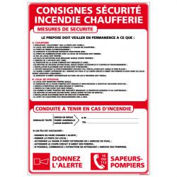 Panneau CONSIGNES CHAUFFERIE (A0305)