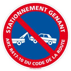 Panneau Stationnement Gênant ART R 417-10 du Code de la Route