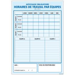 Panneau HORAIRE DE TRAVAIL PAR EQUIPES (A0331)