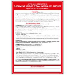 PANNEAU DOCUMENT UNIQUE D'EVALUATION DES RISQUES (A0333)