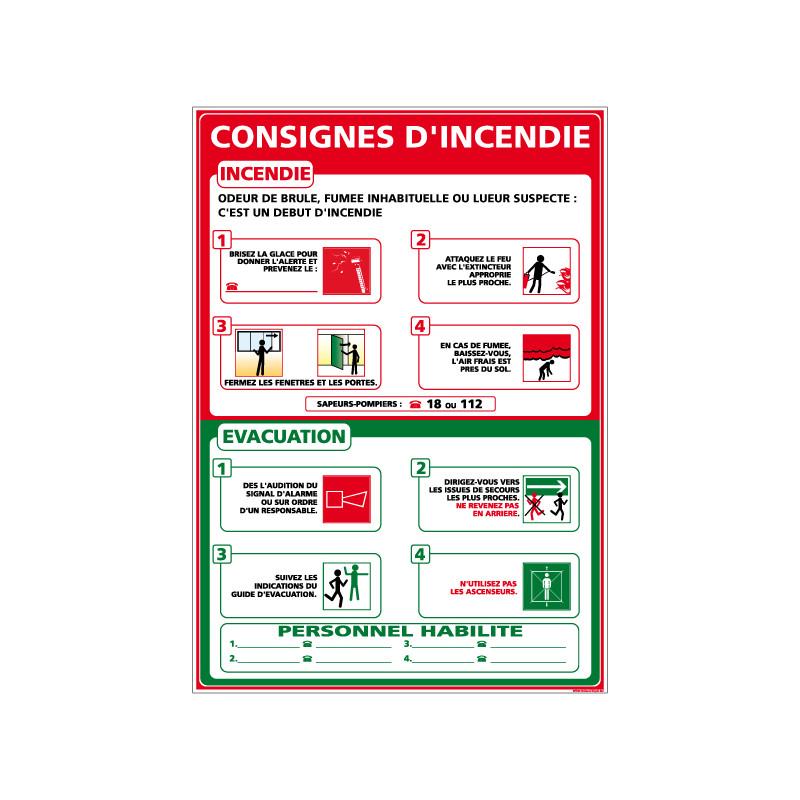 Panneau CONSIGNES INCENDIE (A0307)