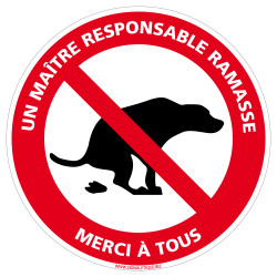 Panneau Déjections Canines - Un Maître Responsable Ramasse