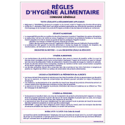 Panneau des REGLES D'HYGIENE ALIMENTAIRE (A0375)