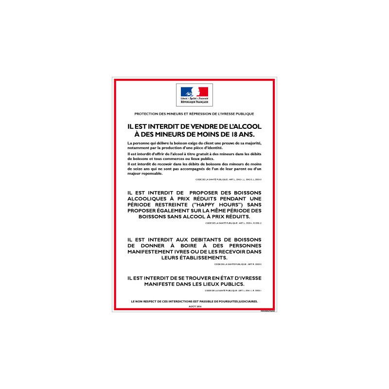 Affichage obligatoire Interdiction de vente d'alcool aux mineurs