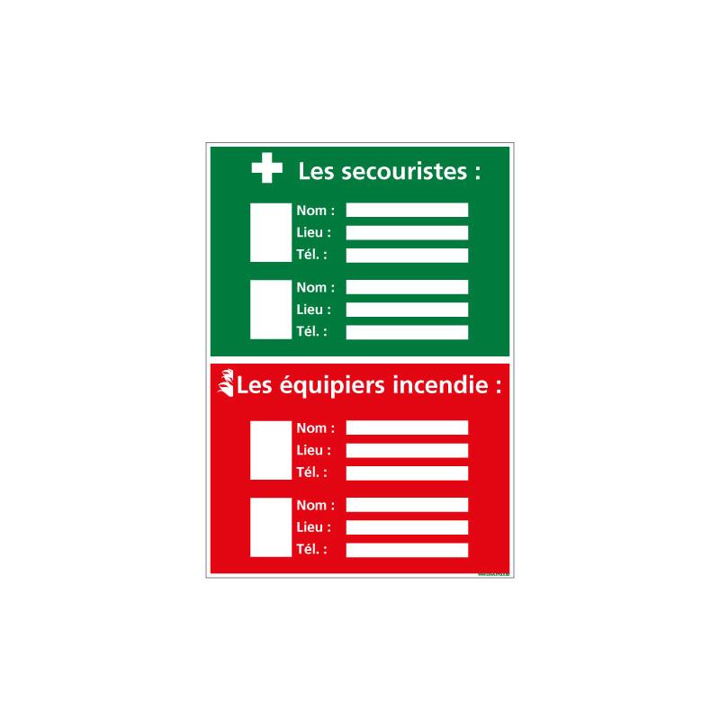 PANNEAU AFFICHAGE SECOURISTES ET EQUIPIERS INCENDIE (A0510)