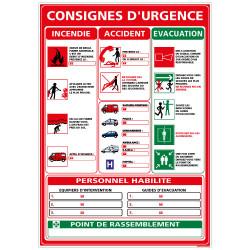 Panneau CONSIGNES GENERALES EN CAS D'URGENCE (A0308)
