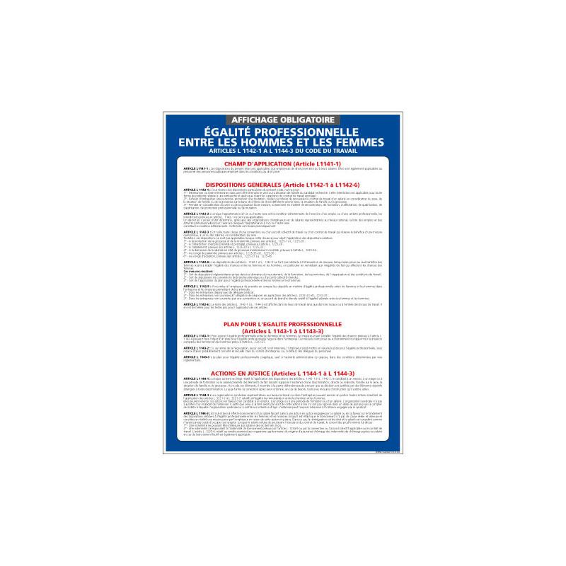 Panneau affichage obligatoire egalite professionnelle (A0519)