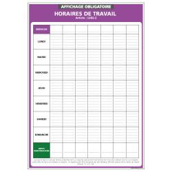Panneau affichage obligatoire Horaires de travail (A0521)