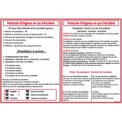 Panneau Protocole d'Urgence en cas d'Accident (A0528)