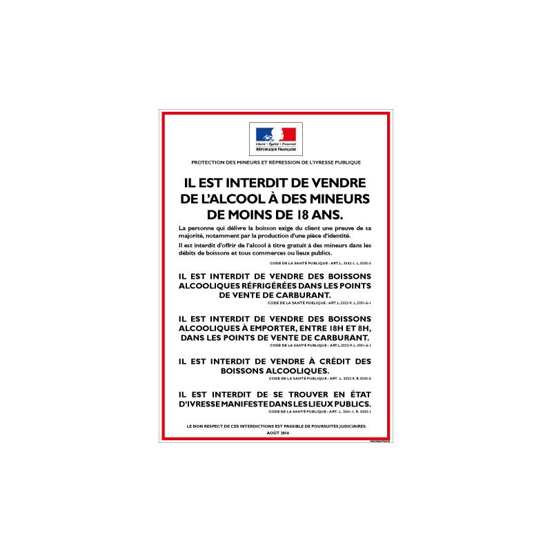 INTERDICTION VENTE ALCOOL AUX MINEURS (POUR POINT DE VENTE CARBURANT) (A0612)