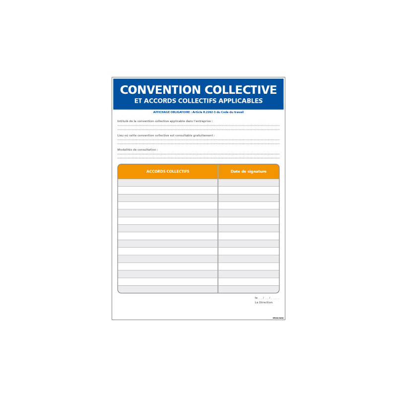 PANNEAU CONVENTION COLLECTIVE AFFICHAGE OBLIGATOIRE (A0615)