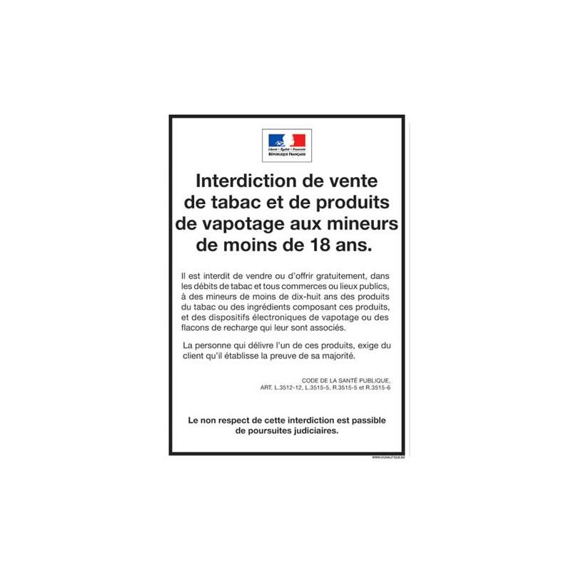 INTERDICTION VENTE TABAC ET PRODUITS DE VAPOTAGE AUX MINEURS (A0625)