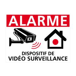 Sticker alarme Dispositif sous Vidéo Surveillance blanc
