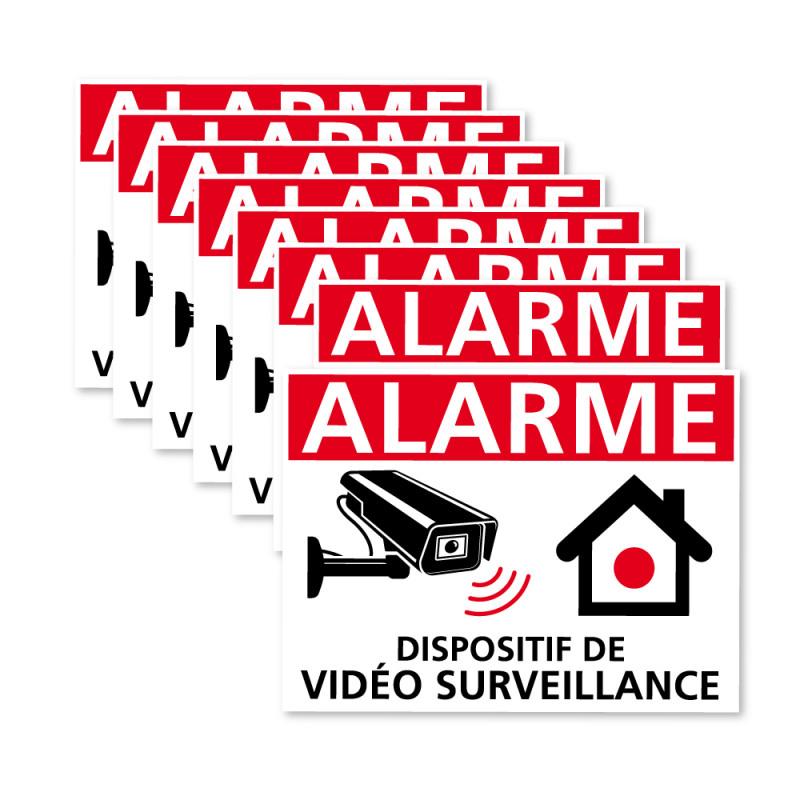 Lot de 8 autocollants anti intrusions Dispositif sous Vidéo Surveillance blanc