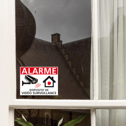 Sticker dissuasif alarme. Autocollant alarme pour portes et fenêtres en blanc