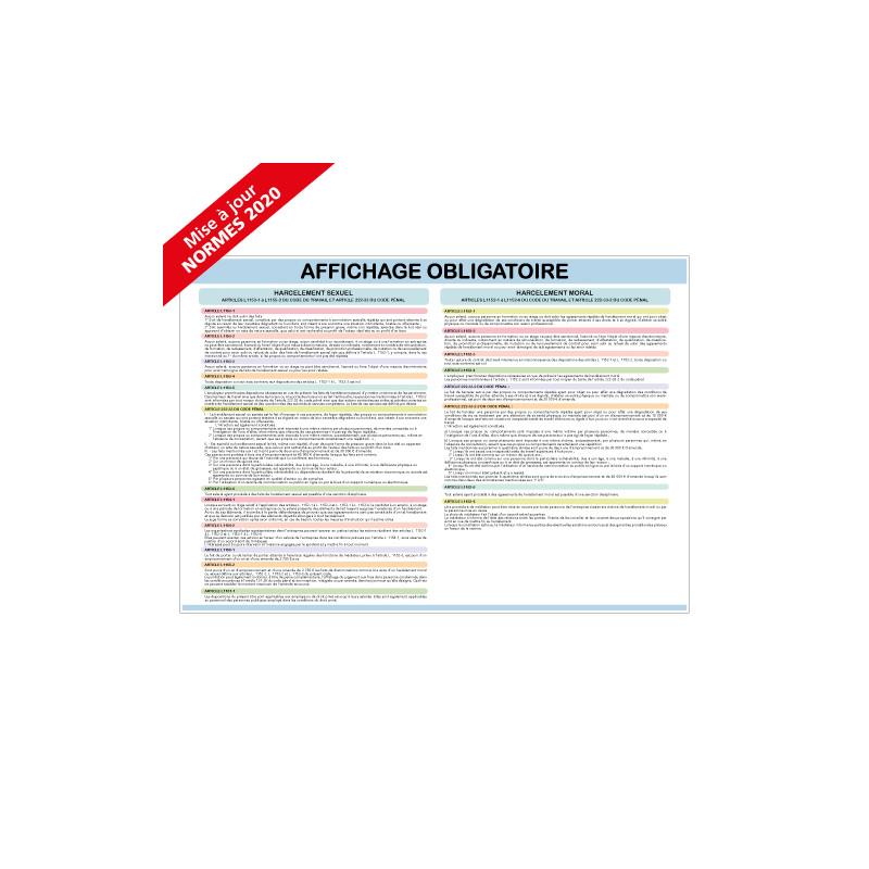AFFICHAGE OBLIGATOIRE CODE DU TRAVAIL - Lot de 4 visuels (A0629)