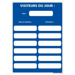 PANNEAU AFFICHAGE OBLIGATOIRE VISITEURS DU JOUR (A0656)