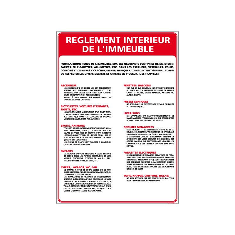 Panneau REGLEMENT INTERIEUR DE L'IMMEUBLE (A0316)